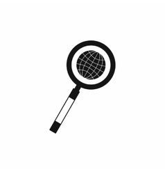 Earth with magnifying glass search icon vector image