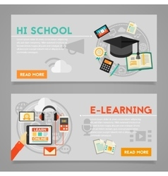 Education and E-learning Concept Banners vector image