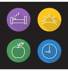 Everyday routine flat linear icons set vector