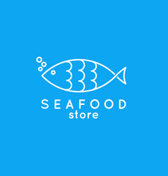 fish line icon seafood store logo fish on blue vector image