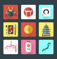 Flat design japanese icons set vector