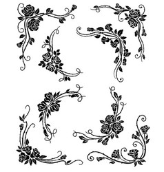 floral corners frame and vignette borders vector image