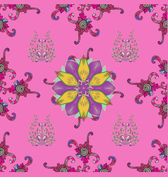 flowers on pink purple and gray colors seamless vector image