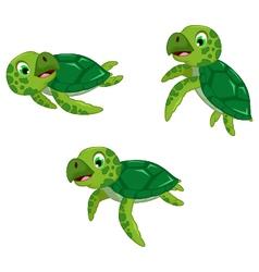 funny three turtle cartoon vector image
