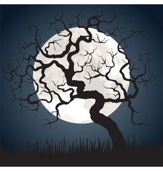 Gnarled tree at night vector