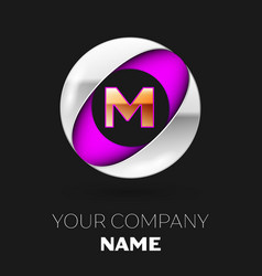 golden letter m logo in the silver-purple circle vector image