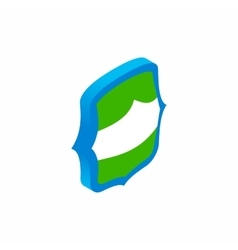 Green and blue shield icon isometric 3d style vector image