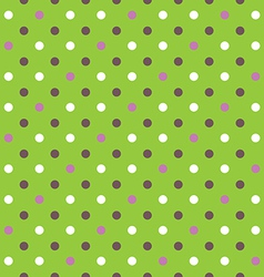 Green background fabric with white pink brown dots vector