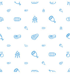 Grilled icons pattern seamless white background vector