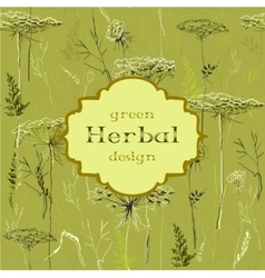 Hand drawn green herbs seamless pattern background vector image