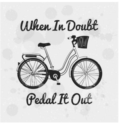 hand drawn label with bicycle vector image