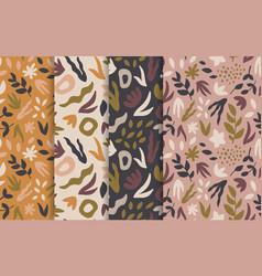 hand-drawn seamless background set foliage vector image