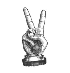 Hand gesture peace symbol two finger up vector