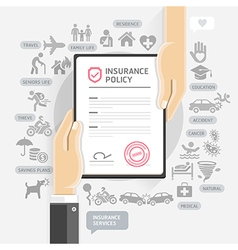 Hands give insurance document paper vector image
