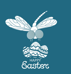 happy easter paschal eggs dragonfly vector image
