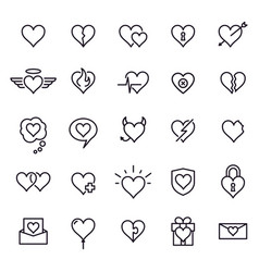 heart line icons styling heart decoration vector image