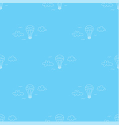 Hot air balloon flying on blue sky with clouds vector