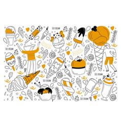 ice cream doodle set vector image