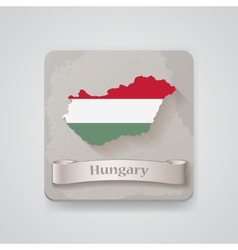 Icon of Hungary map with flag vector image