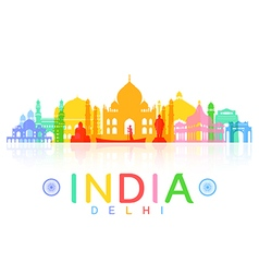 India Travel Landmarks vector