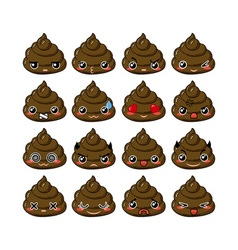 Kawaii poop emoticons set vector