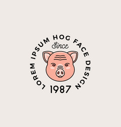 line style hog face with retro typography vector image