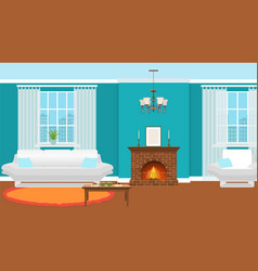 living room interior with fireplace furniture and vector image