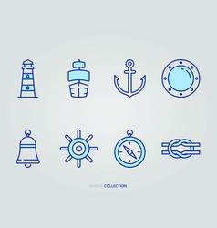 navigation and ocean icon set vector image