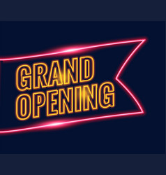 Neon style grand opening banner design background vector