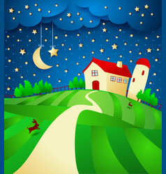 Night landscape with farm and starry sky vector