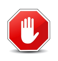No entry hand sign on white background vector
