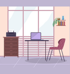 office room table chair laptop cabinet with vector image