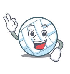 Okay volley ball character cartoon vector