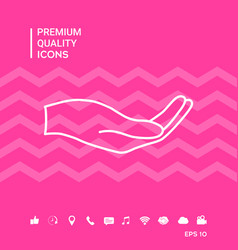 Open hand - line icon vector