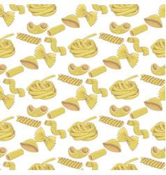 pasta collection colored hand drawn sketch vector image
