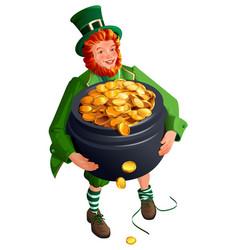 Patrick dwarf holds big pot gold cartoon vector