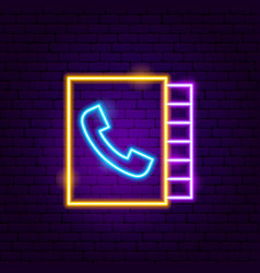 phone call book neon sign vector image