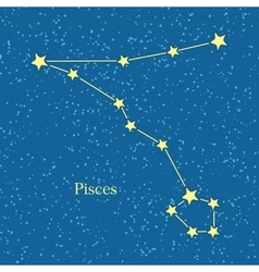Pisces zodiac symbol on background cosmic sky vector