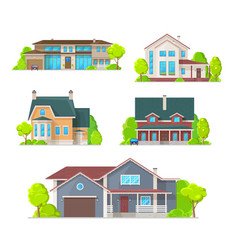 Private houses mansions and cottage icons vector