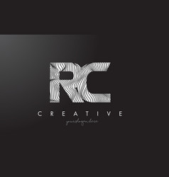 rc r c letter logo with zebra lines texture vector image