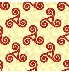 Red and yellow celtic triskels seamless pattern vector image