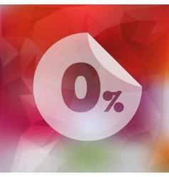 Sale discount zero percent button on blurred vector