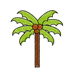 scribble beach palm cartoon vector image