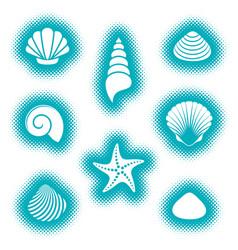 sea shells and starfish icons vector image