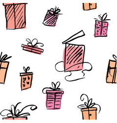 seamless background with boxes with gifts vector image
