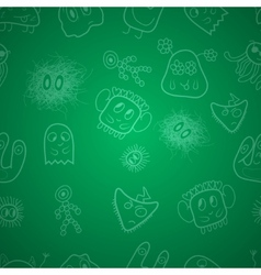 Seamless pattern with monsters vector