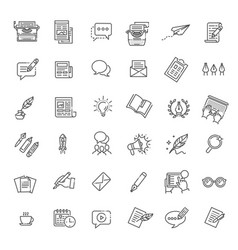Set copywriting related line icons vector