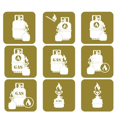 Set of tourist cooking equipment icons vector