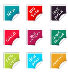 Set of web sale square stickers for online shop vector image