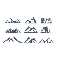 set with different mountain silhouette on white vector image